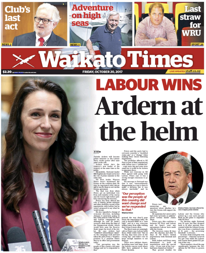 Waikato Times - 20 October 2017 election Labour