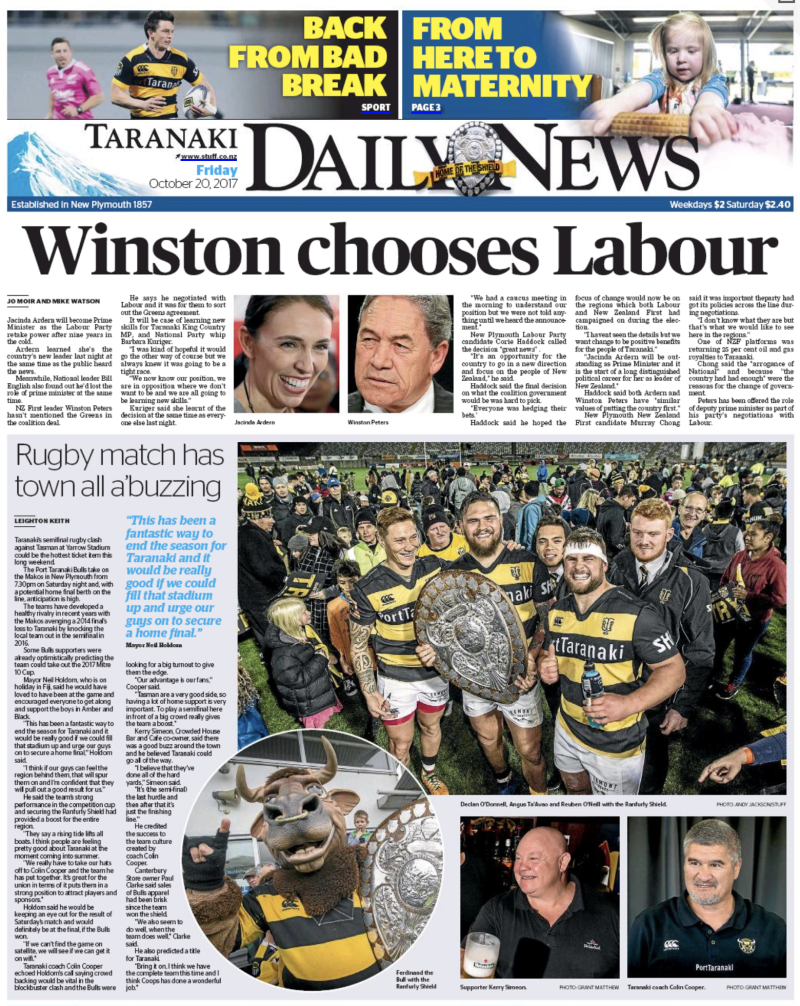 Taranaki Daily News 20 October 2017 election Labour