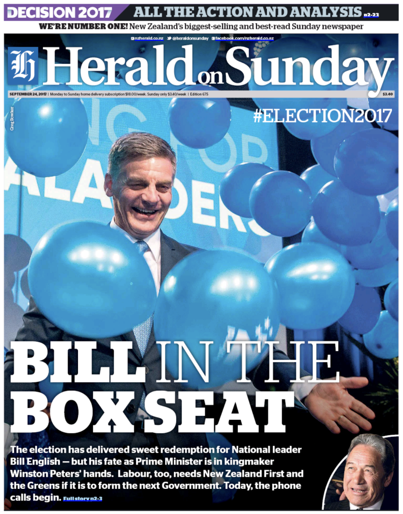 NZ Herald 24 September 2017 post-election National