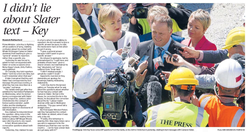 The Press 28 November 2014 John Key Dirty Politics