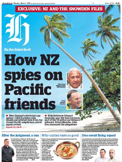 NZ Herald 5 March 2015 frontpage #snowdenNZ