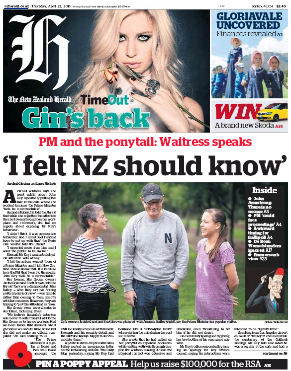 NZ Herald 23 April 2015 frontpage #ponytailgate