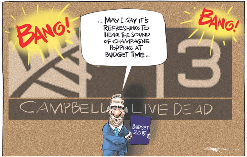 Emmerson - NZ Herald 22 May 2015 Campbell Live Budget Bill English