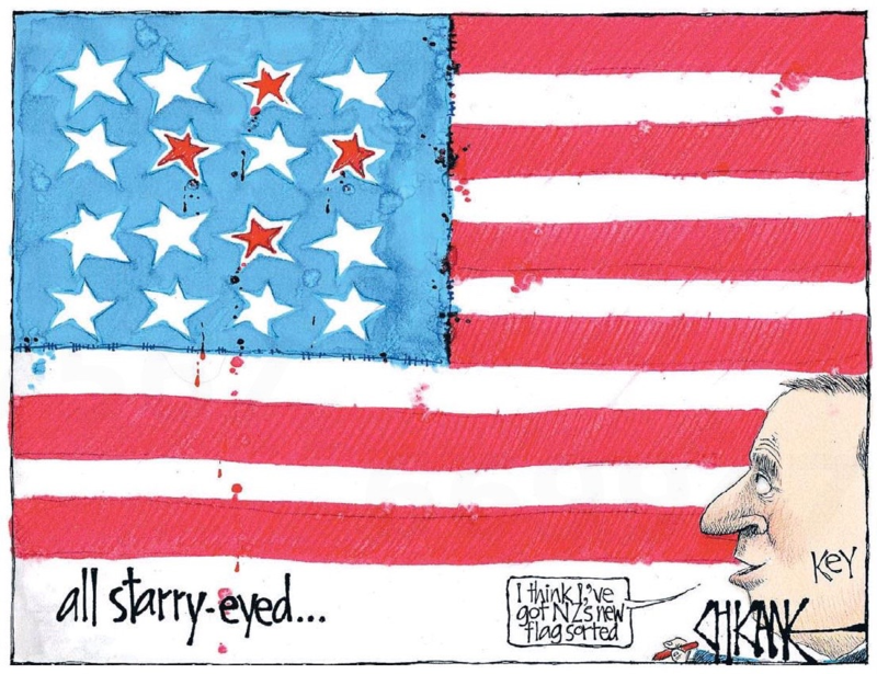 Chicane - Southland Times 26 June 2014 NZ-USA John Key flag