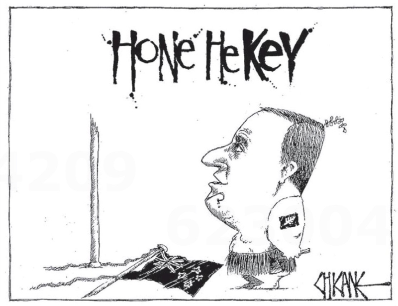 Chicane - Southland Times 7 February 2014 Hone John Key flag
