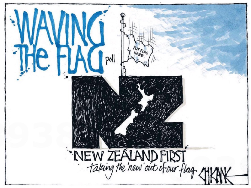 Chicane - Southland Times 18 November 2014 flag NZ First