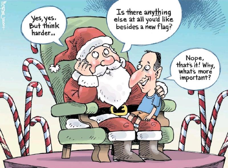 Moreu - Nelson Mail 20 December 2014 John Key flag
