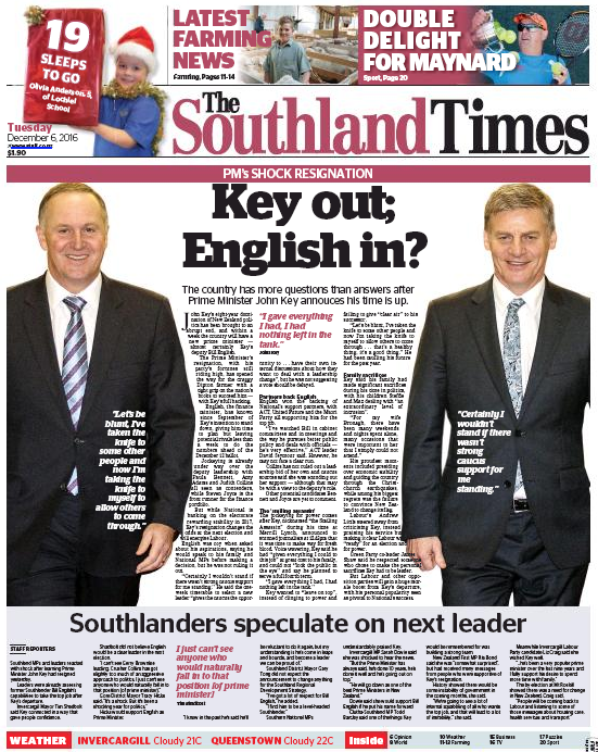 Southland Times - 6 December 2016 John Key frontpage