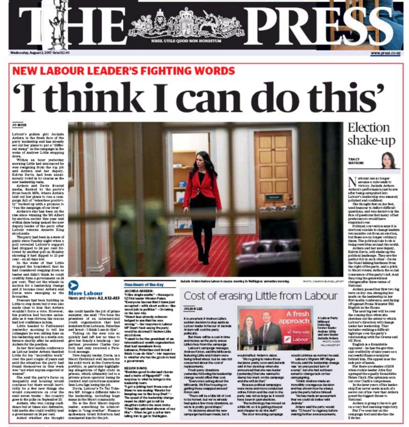 The Press 2 August 2017 Jacinda Ardern Labour