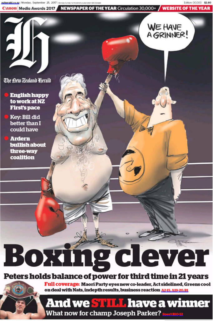 Emmerson - NZ Herald 25 September 2017 Winston Peters NZ First front page