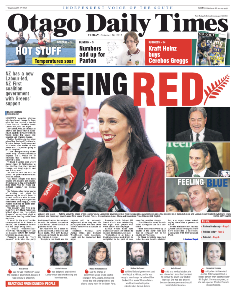 Otago Daily Times 20 October 2017 frontpage govt