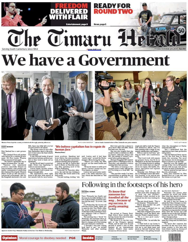 Timaru Herald 20 October 2017 election Labour