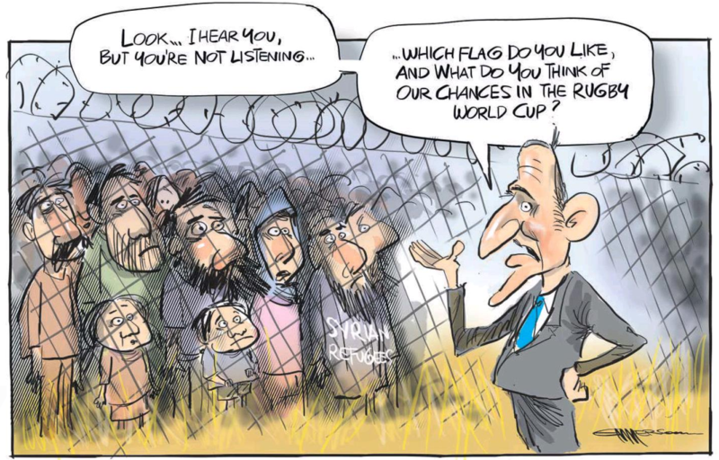 Emmerson - NZ Herald 3 Septemer 2015 flag refugees
