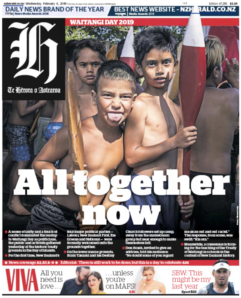 NZ Herald 6 February 2019 Waitangi Day frontpage