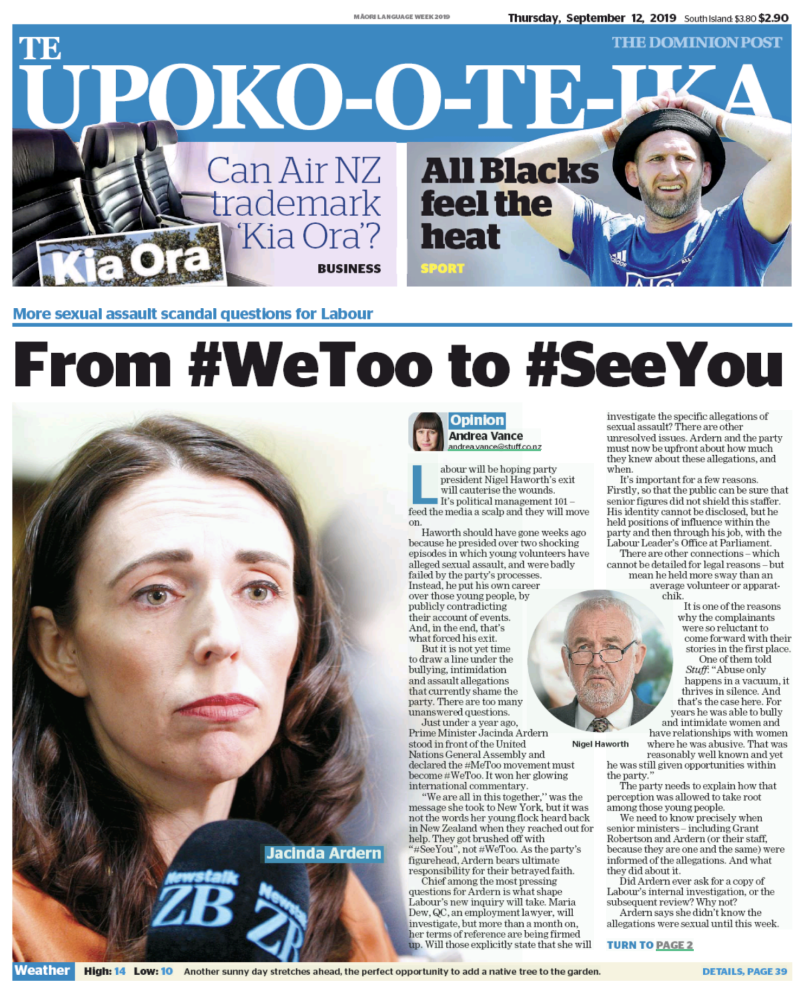 Dominion Post front page - 12 September 2019 Ardern Labour gender